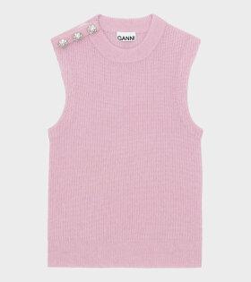 Soft Wool Knit Vest Pale Lilac/Pink