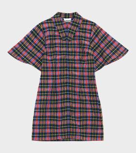 Mini Dress Seersucker Checkered Multicolor