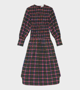 Maxi Dress Seersucker Checkered Multicolor