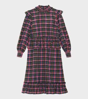 Midi Frill Dress Seersucker Checkered Multicolor