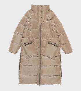 Long Tech Puffer Jacket Fossil Brown