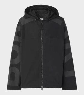 Compton Logo Print Lightweight Hooded Jacket Black