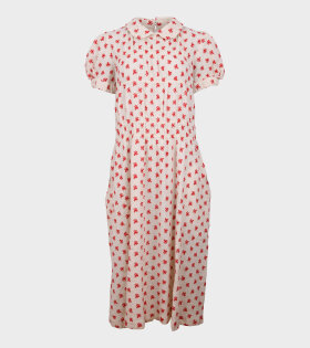 Embroidered Ladies Dress White/Red