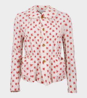 Embroidered Ladies Jacket White/Red