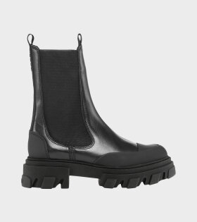 Mid Chelsea Leather Boot Black