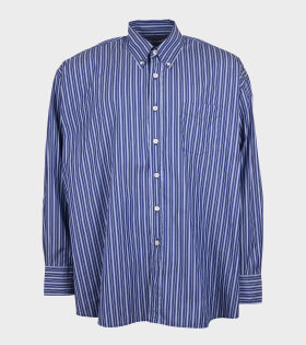 Borrowed BD Poplin Shirt Striped Navy/White